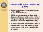 categorical program monitoring cpm