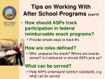 tips on working with after school programs con t