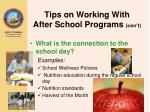 tips on working with after school programs con t20
