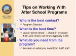 tips on working with after school programs