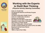 working with the experts to distill best thinking physical activity steering committee