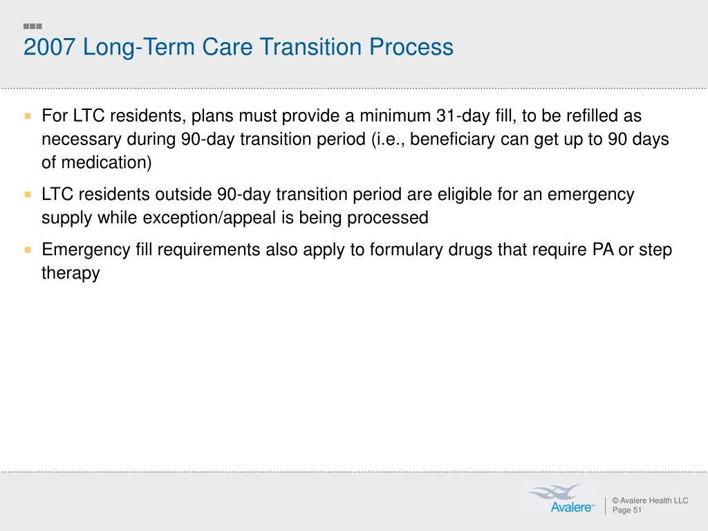 2007 Long-Term Care Transition Process