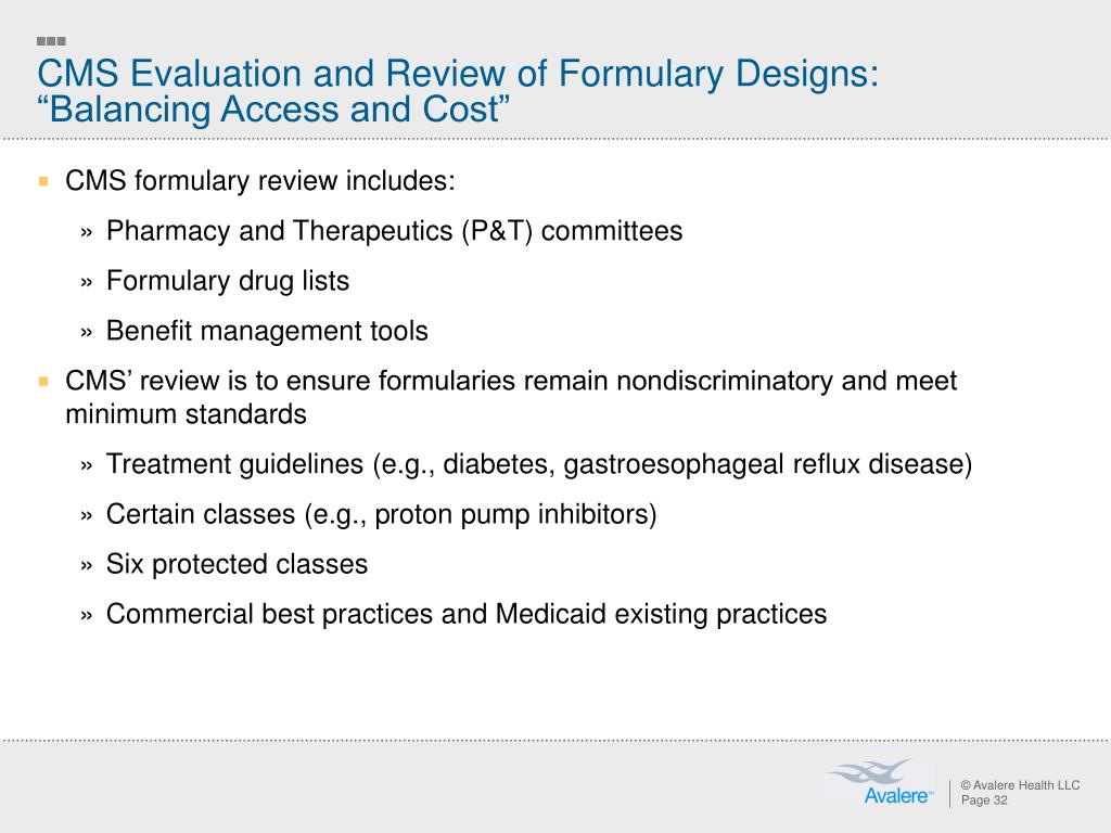 """CMS Evaluation and Review of Formulary Designs: """"Balancing Access and Cost"""""""