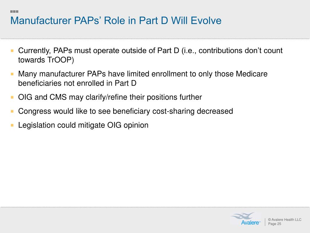 Manufacturer PAPs' Role in Part D Will Evolve