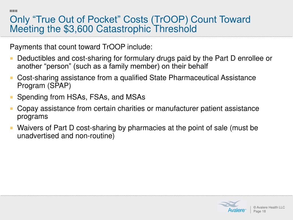 """Only """"True Out of Pocket"""" Costs (TrOOP) Count Toward Meeting the $3,600 Catastrophic Threshold"""