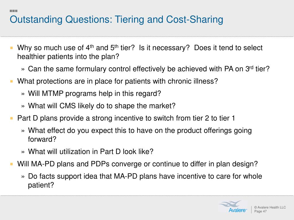 Outstanding Questions: Tiering and Cost-Sharing