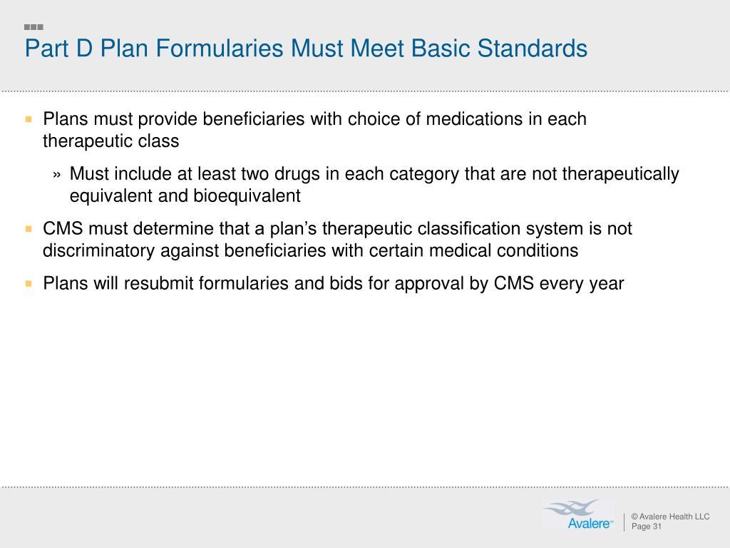 Part D Plan Formularies Must Meet Basic Standards
