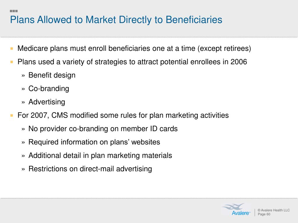 Plans Allowed to Market Directly to Beneficiaries