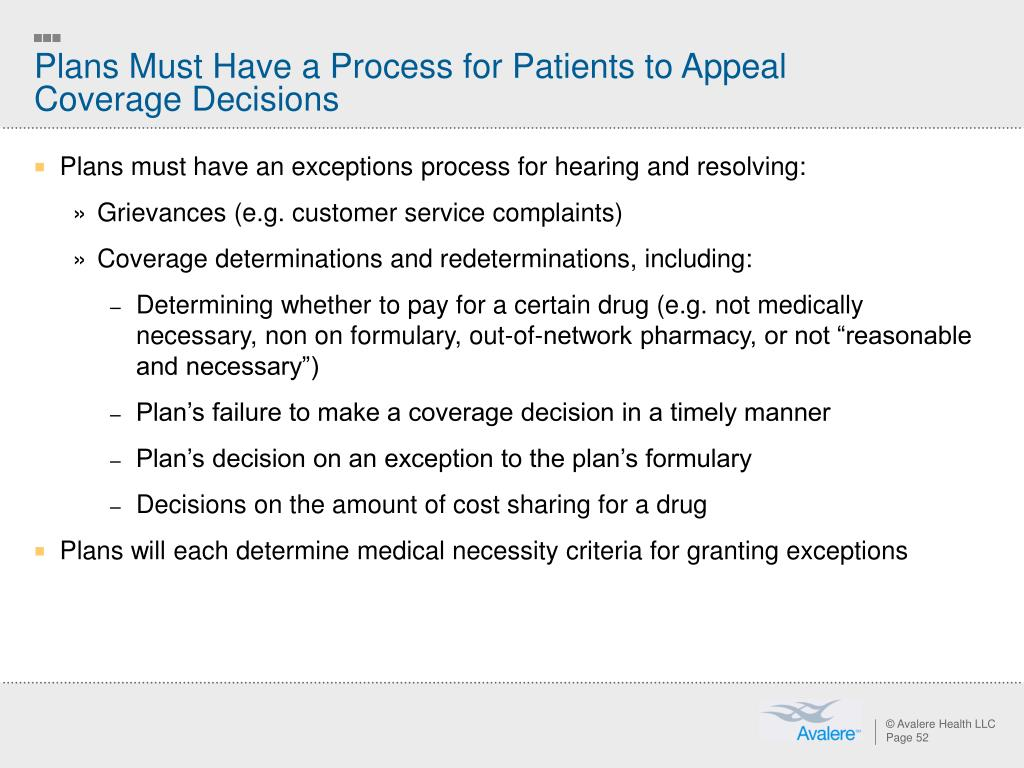 Plans Must Have a Process for Patients to Appeal