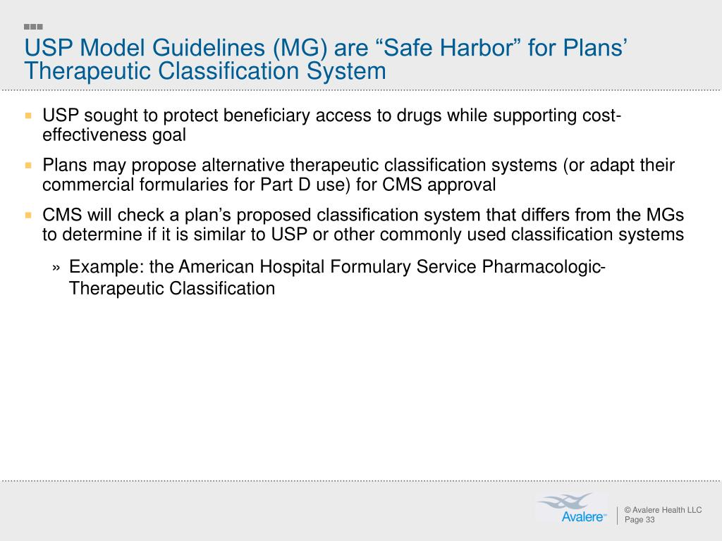"""USP Model Guidelines (MG) are """"Safe Harbor"""" for Plans' Therapeutic Classification System"""