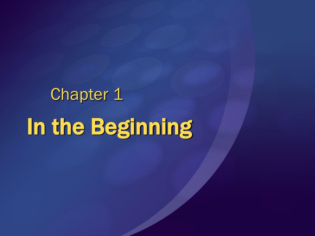 in the beginning l.