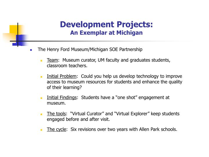 Development Projects: