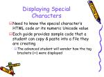 displaying special characters