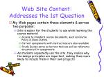 web site content addresses the 1st question9