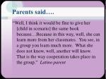 parents said