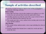 sample of activities described