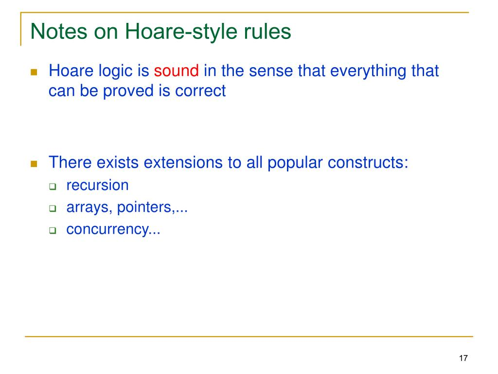Notes on Hoare-style rules