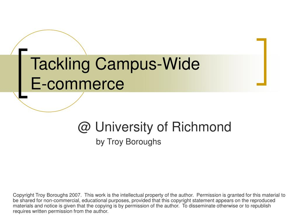 tackling campus wide e commerce l.