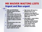 mr waiver waiting lists urgent and non urgent