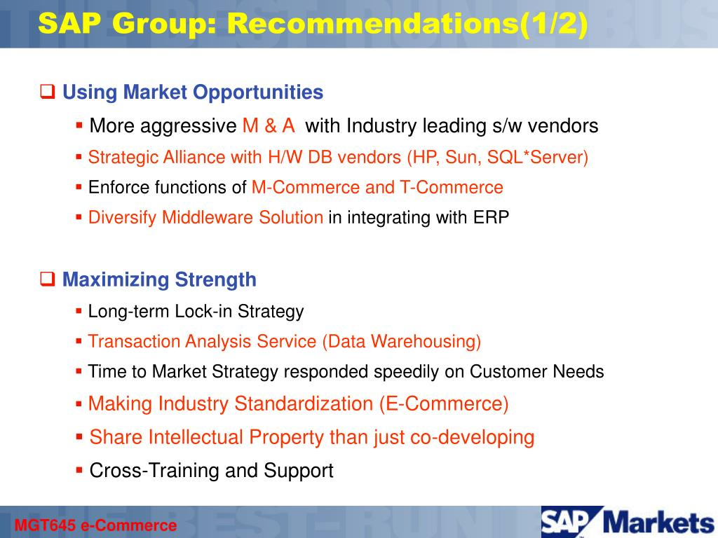 SAP Group: Recommendations(1/2)