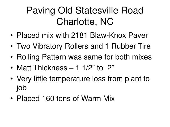 Paving Old Statesville Road