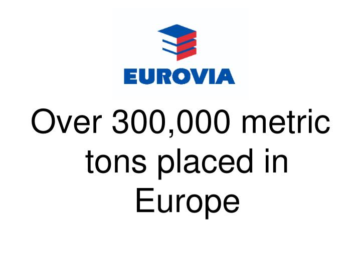 Over 300,000 metric tons placed in Europe