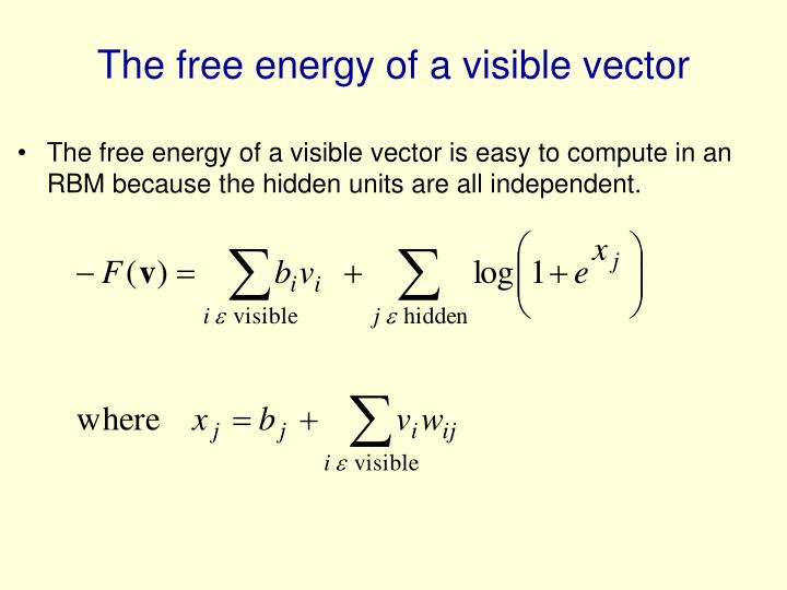 The free energy of a visible vector