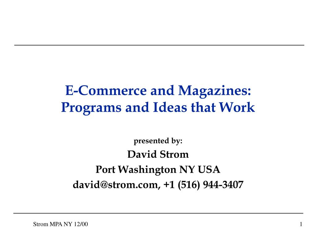 e commerce and magazines programs and ideas that work l.
