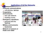 applications of ad hoc networks