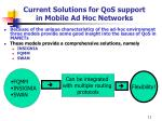 current solutions for qos support in mobile ad hoc networks