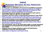 swan stateless wireless ad hoc networks