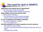 the need for qos in manets