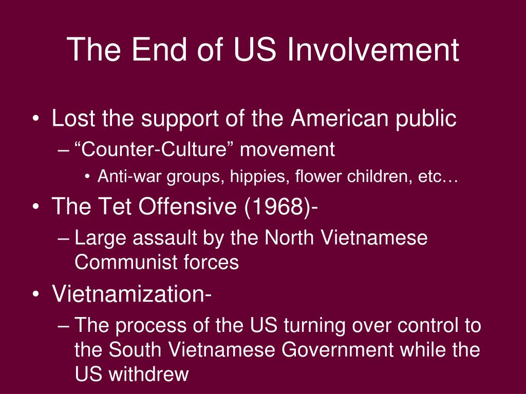 The End of US Involvement