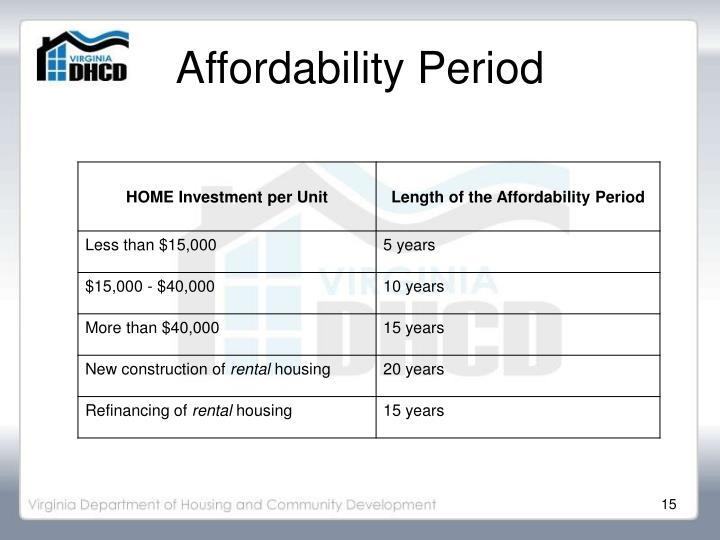 Affordability Period