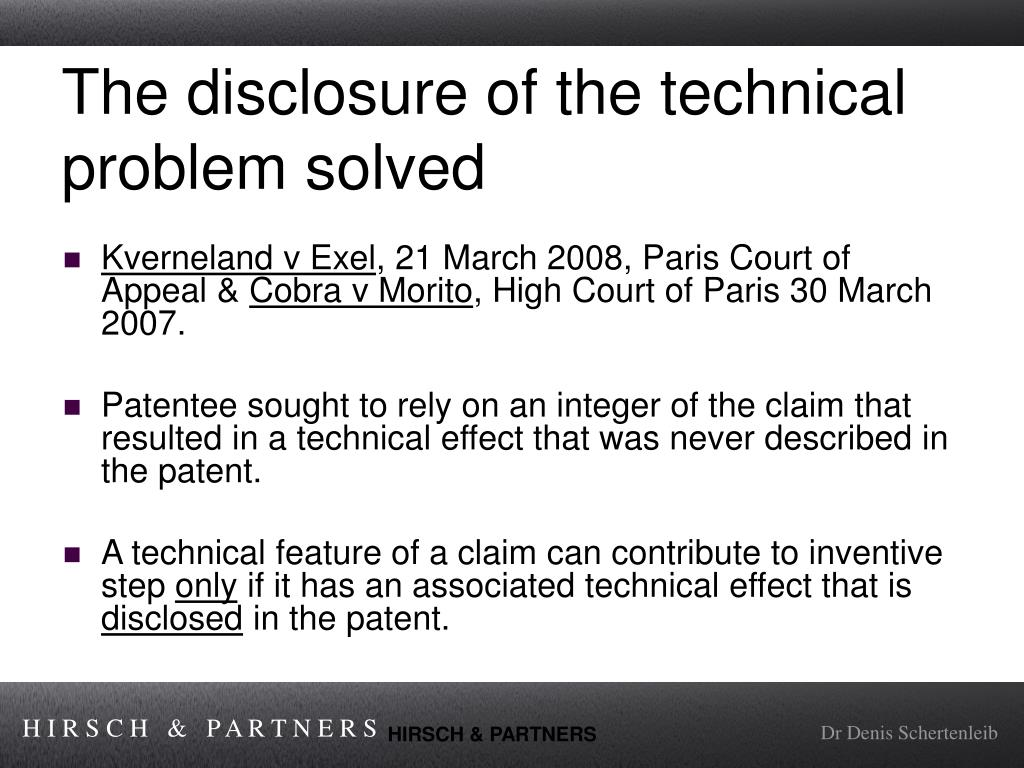 The disclosure of the technical problem solved