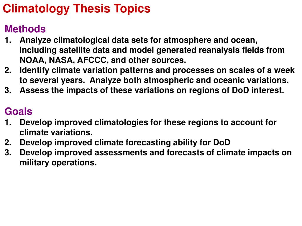 Climatology Thesis Topics
