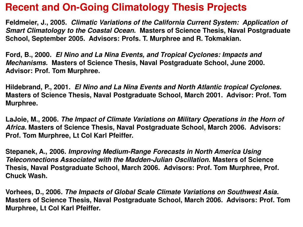 Recent and On-Going Climatology Thesis Projects