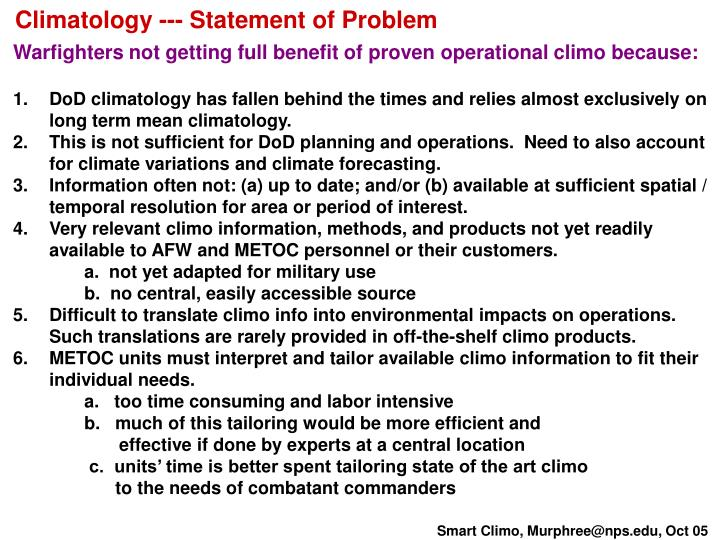 Climatology --- Statement of Problem