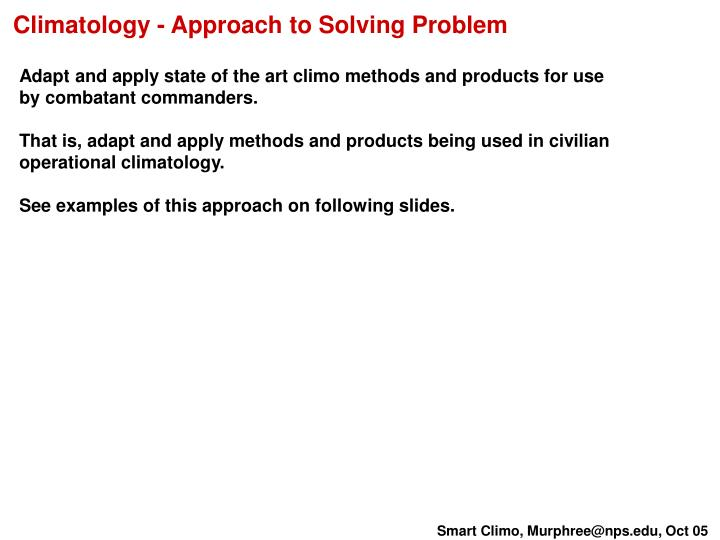 Climatology - Approach to Solving Problem
