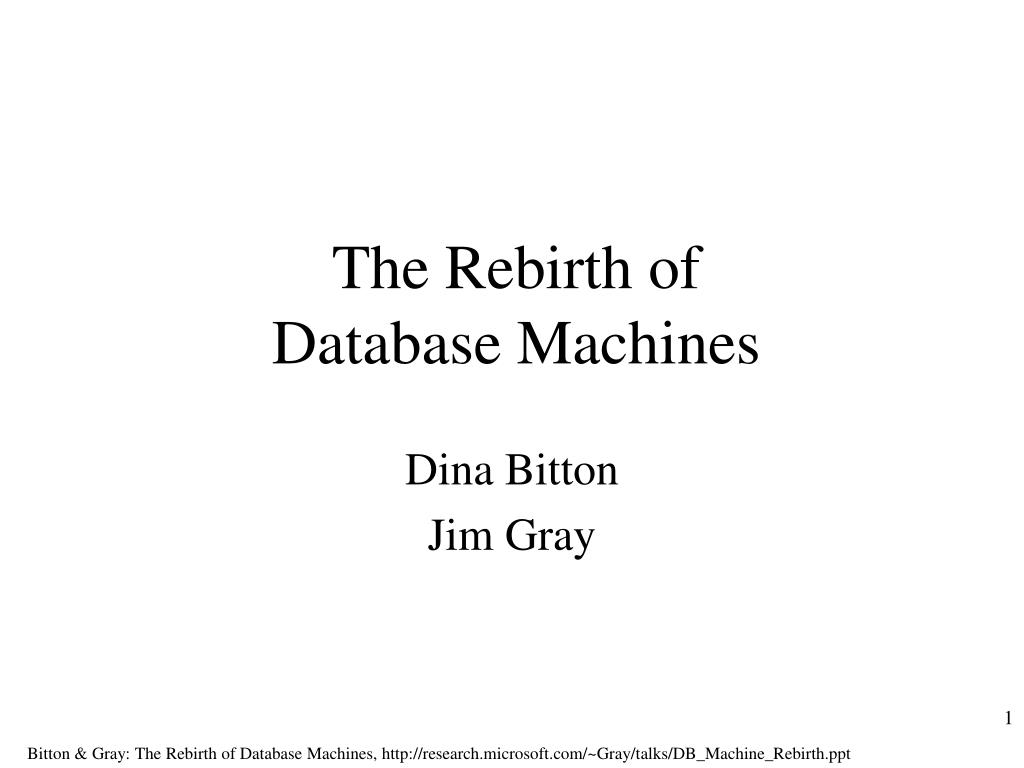 the rebirth of database machines l.