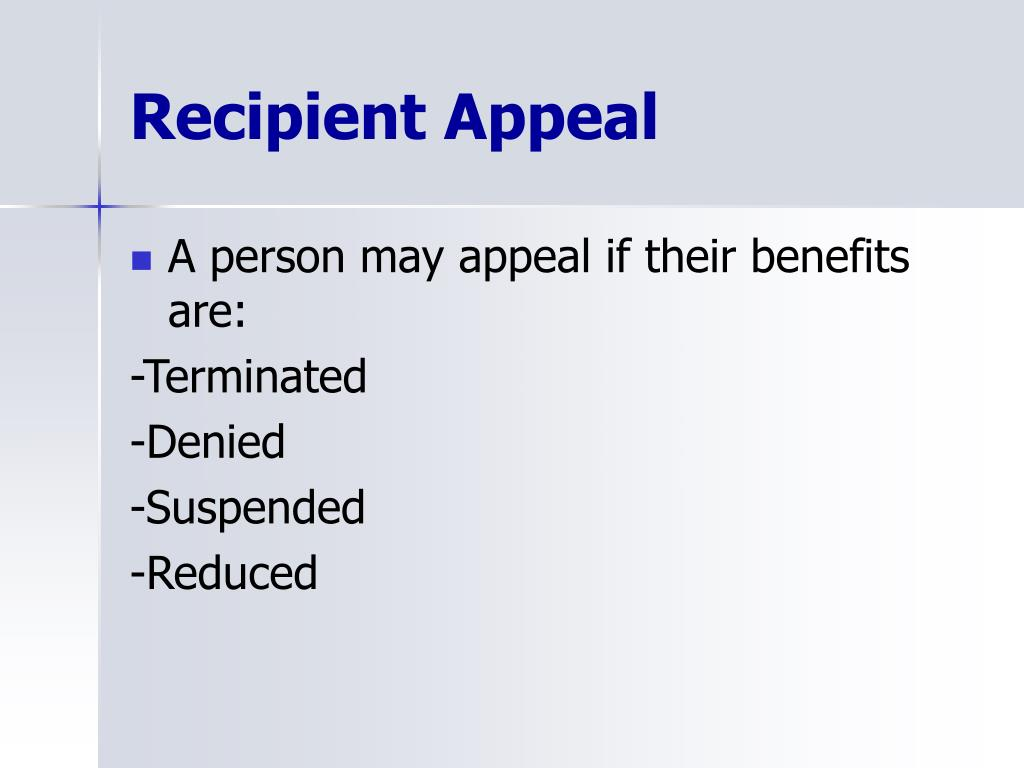 Recipient Appeal