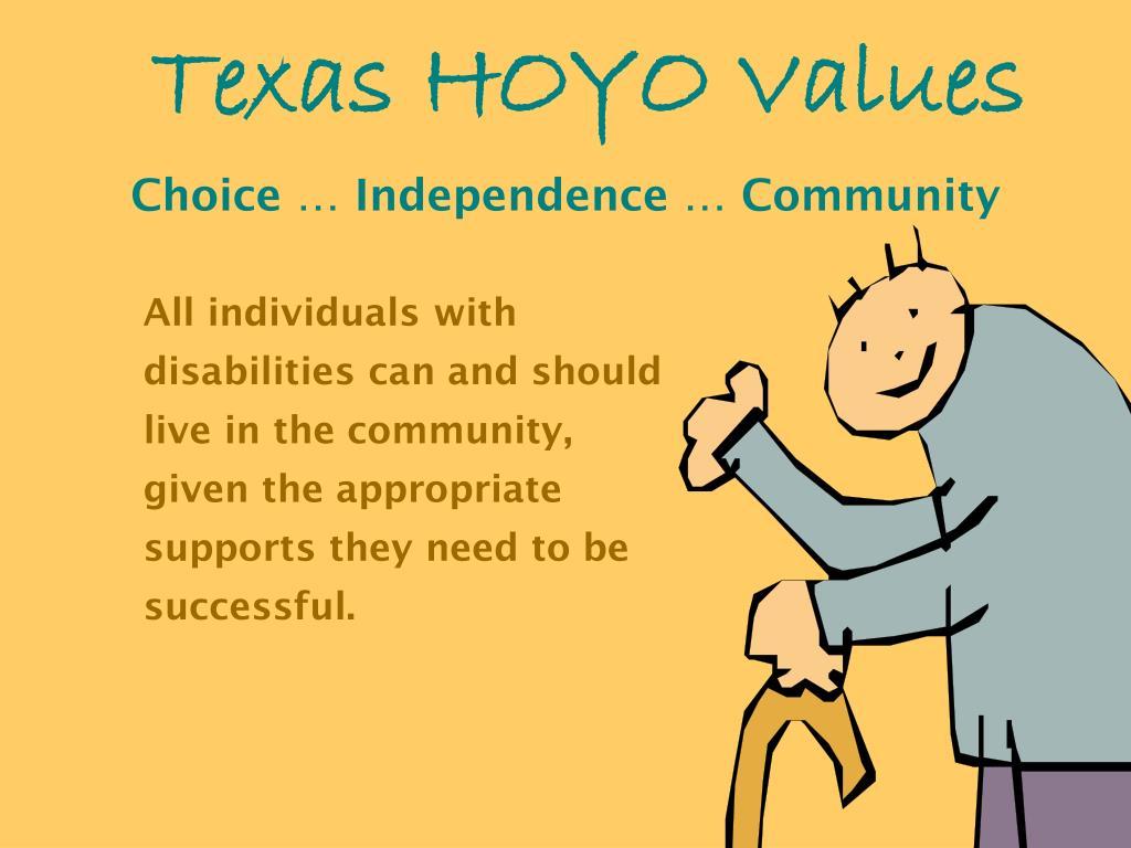 Texas HOYO Values