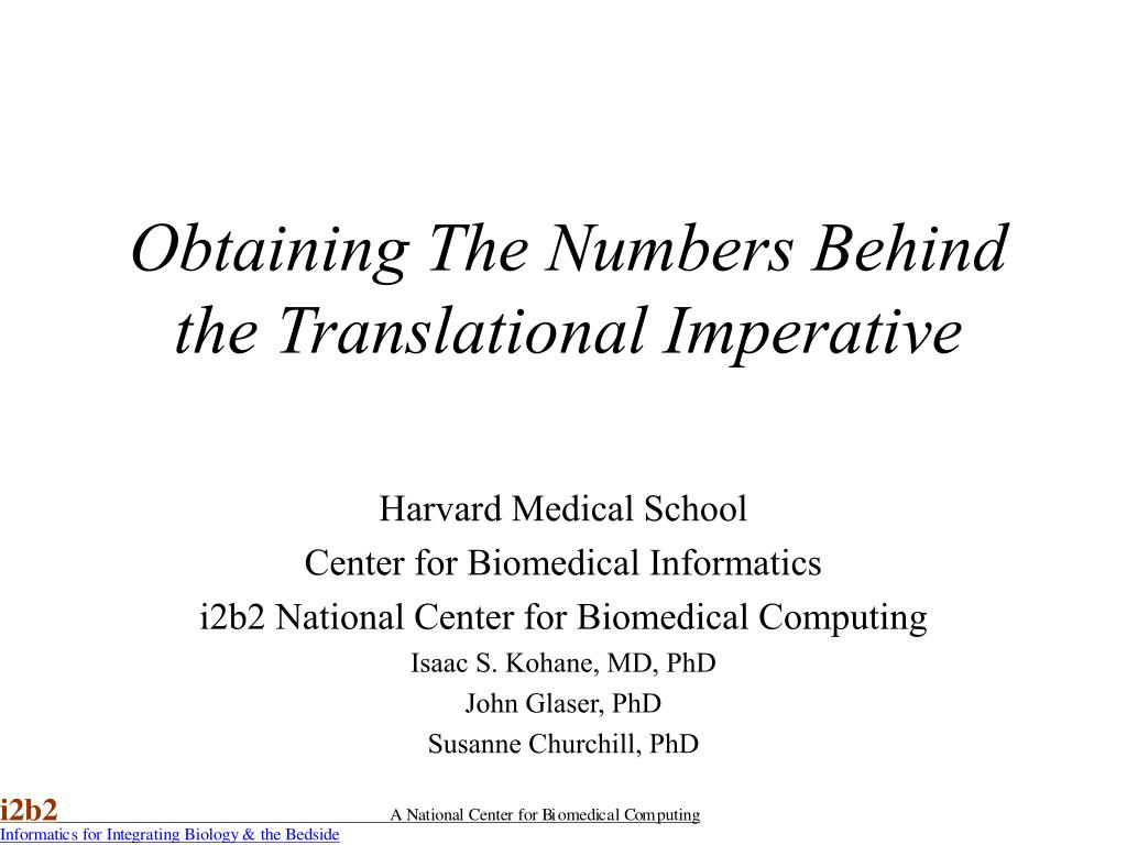 obtaining the numbers behind the translational imperative l.