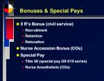 bonuses special pays