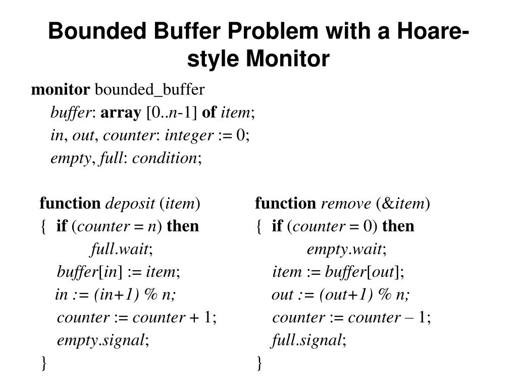 Bounded Buffer Problem with a Hoare-style Monitor