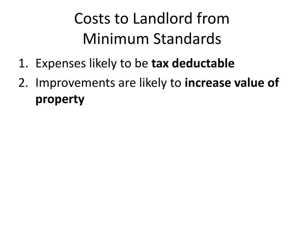 Costs to Landlord from