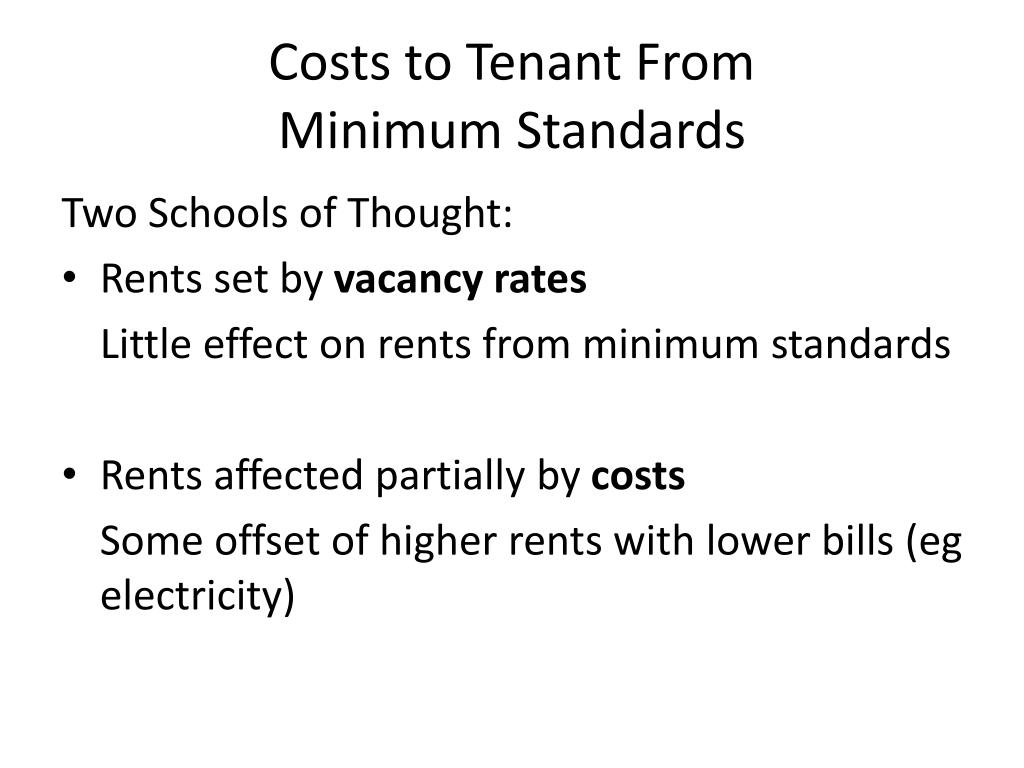 Costs to Tenant From