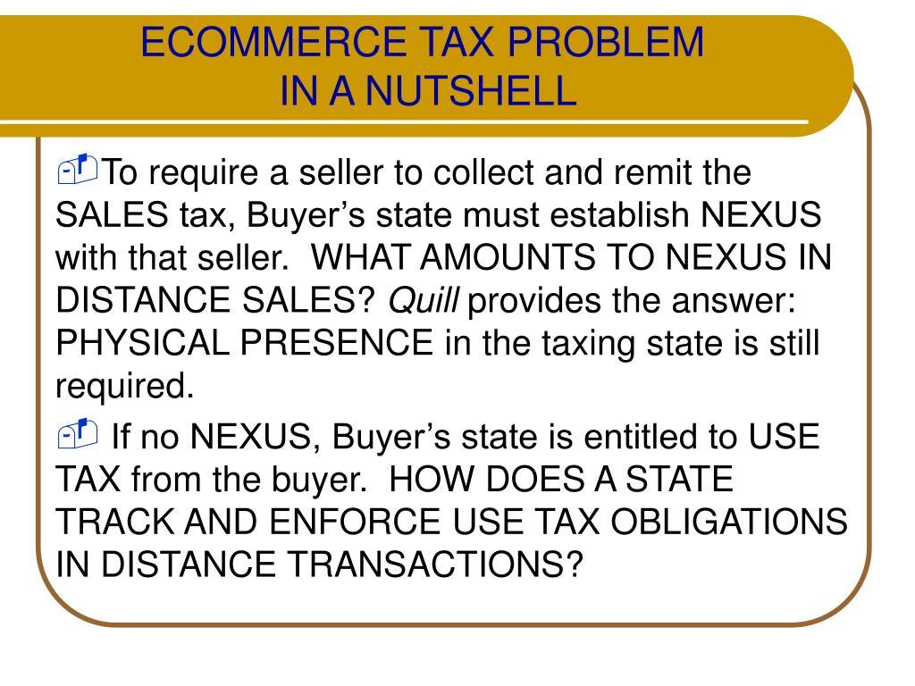 ECOMMERCE TAX PROBLEM