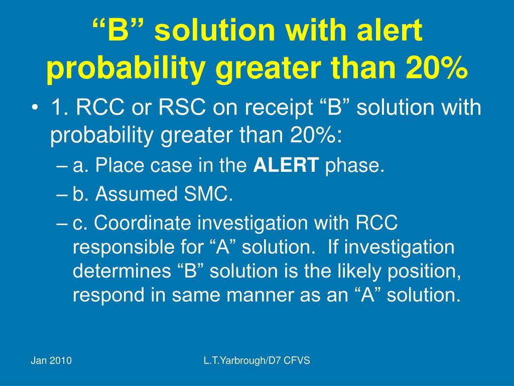 """""""B"""" solution with alert probability greater than 20%"""