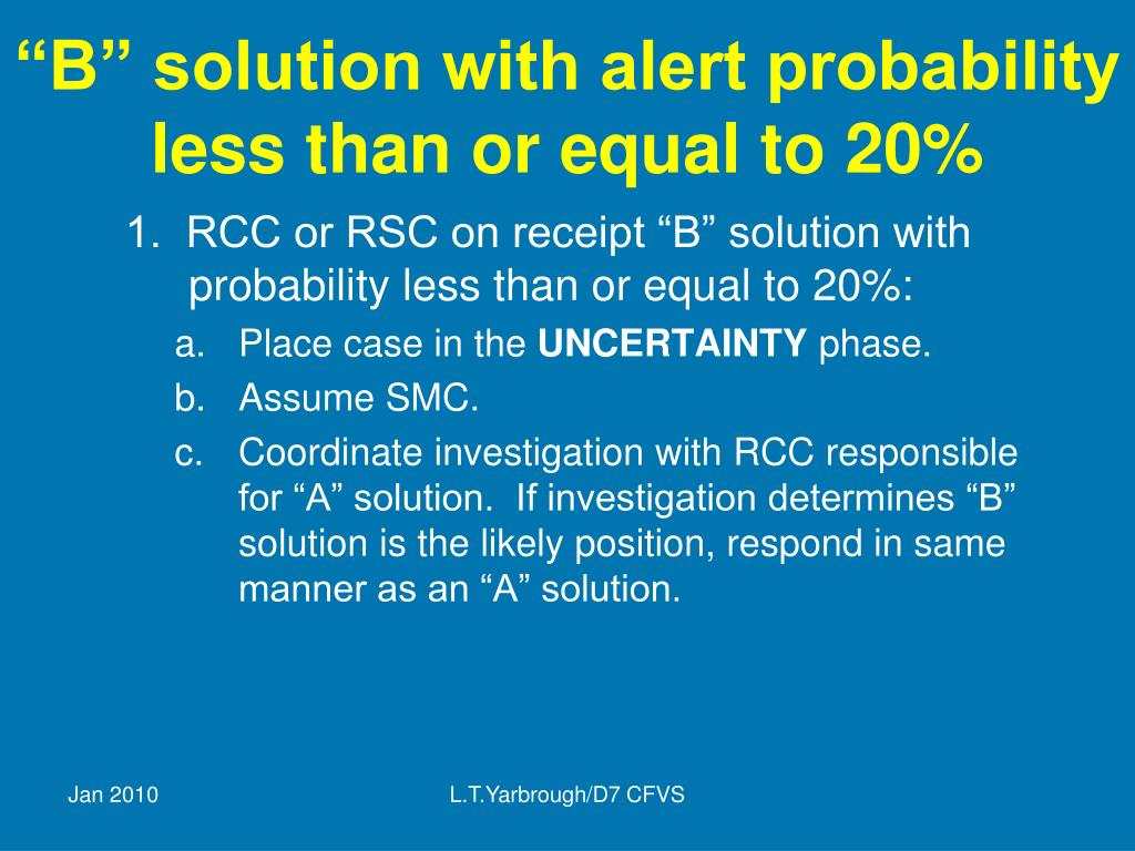 """""""B"""" solution with alert probability less than or equal to 20%"""